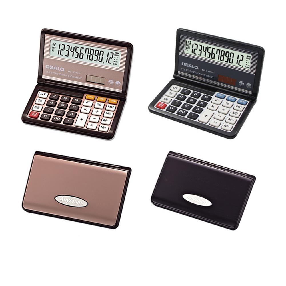 calculator OSALO OS-777VC Folding Calculator 12 Digit Solar Dual Power Supply Portable Calculator School Students office Finance HOB1756813 2 1