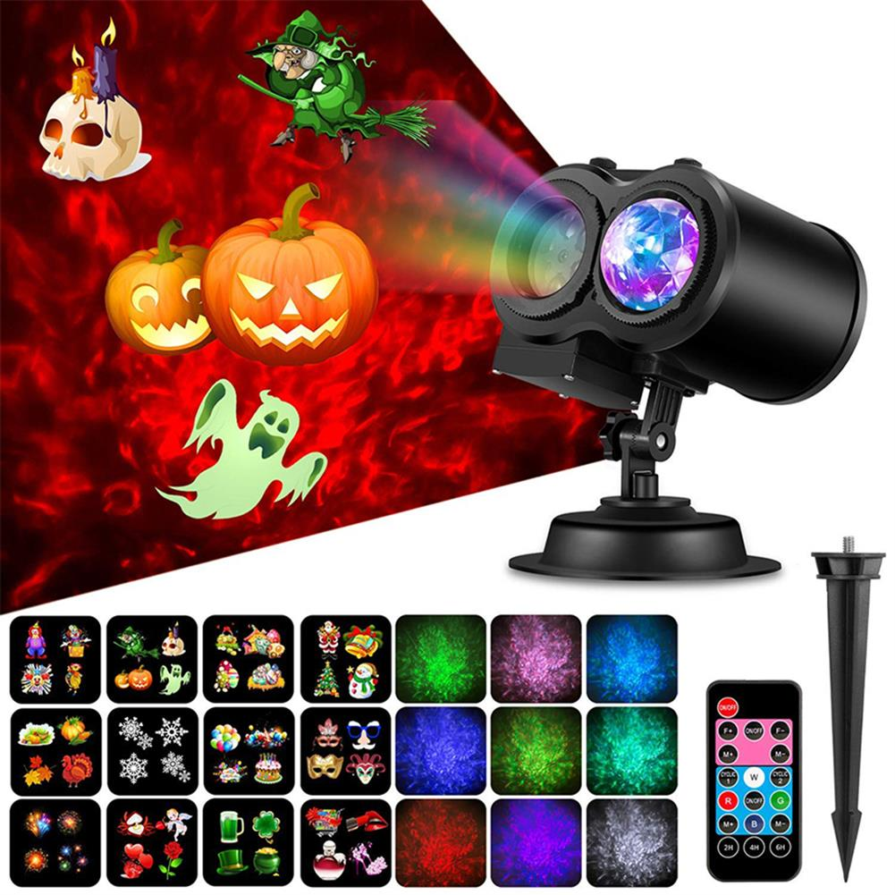 projector-lamp Slide Show Halloween Projector Lamp Outdoor Dual LED 16 Cards Wave Light Christmas Halloween Projection Lamp for Home Decor HOB1757041 1 1