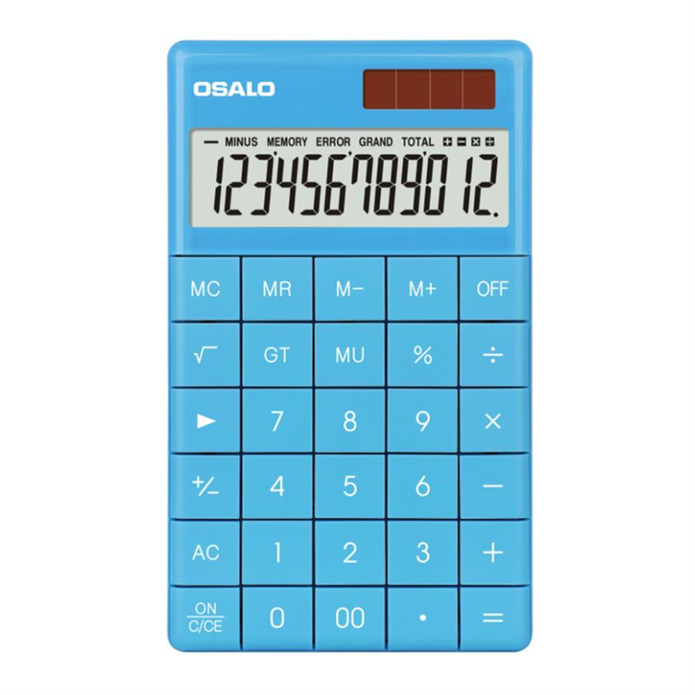 calculator OSALO A-1 12 Digit Tablet Buttons Calculator Dual Power Supply Calculator Portable School Students office Finance Supplies HOB1757058 1 1