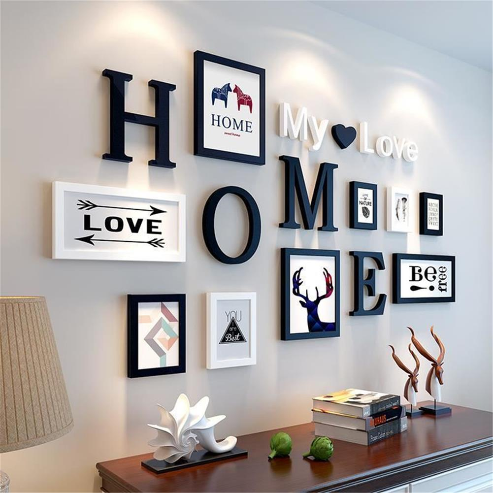 other-learning-office-supplies 9 pcs Black White Vintage Photo Frame Wall Hanging Wedding Family Wooden Picture for Paintings Creative Gifts Supplies HOB1757875 1 1