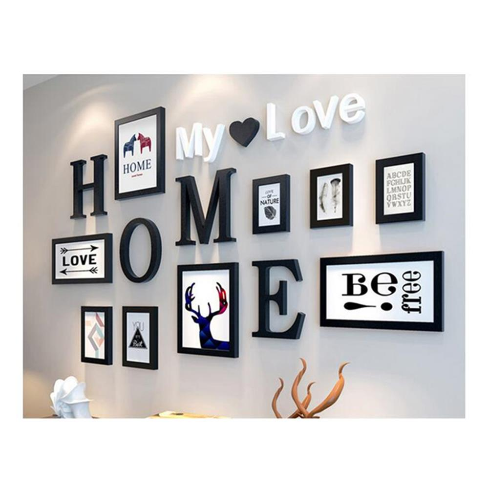 other-learning-office-supplies 9 pcs Black White Vintage Photo Frame Wall Hanging Wedding Family Wooden Picture for Paintings Creative Gifts Supplies HOB1757875 2 1