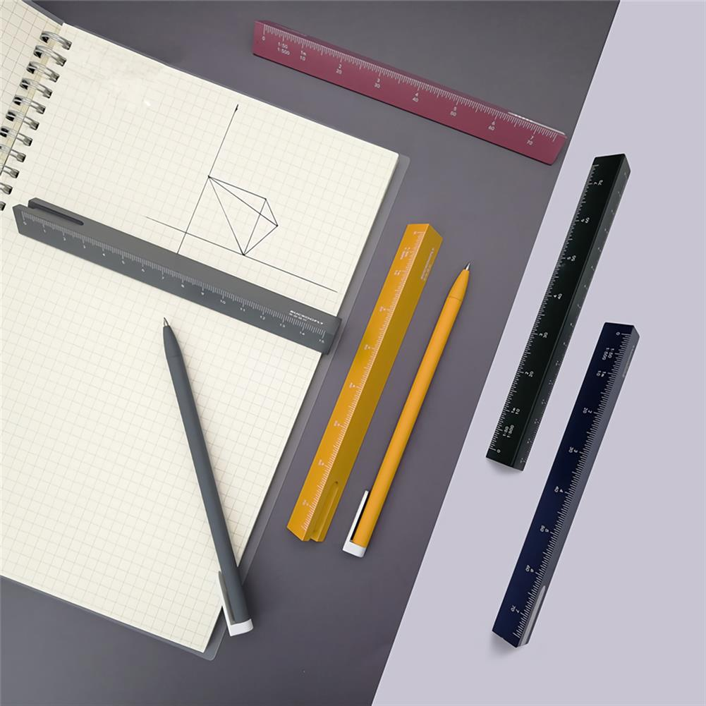 ruler Buckoofly RP-001 15cm Double Scale Pen Ruler Multifunctional Triangle Shape Drawing Rulers Students office Supplies HOB1759909 3 1