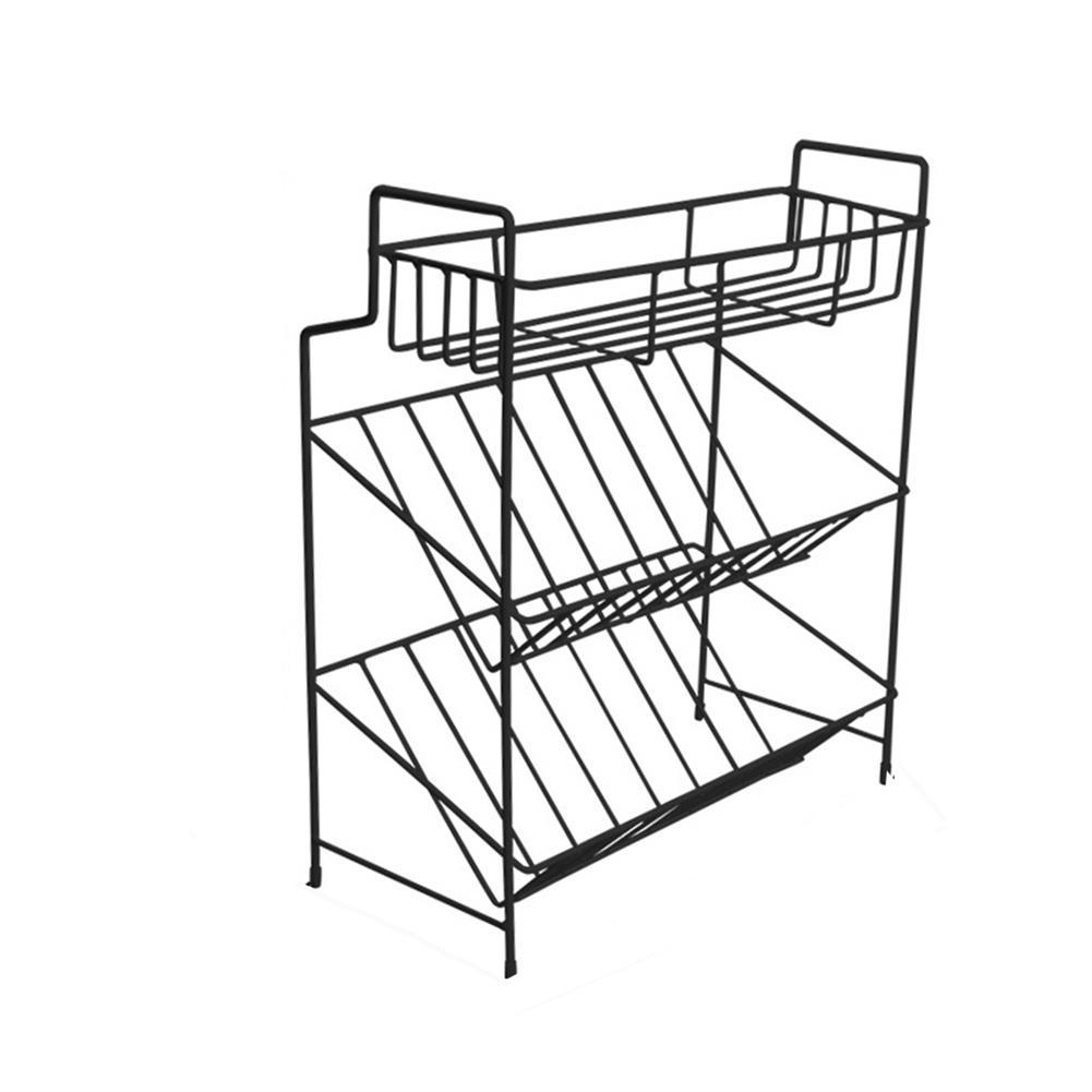 desktop-off-surface-shelves 2/3 Layers Shelf Kitchen Utensils Storage Iron Spice Rack Storage Stand Home Organizer Kitchen Shelf-Black HOB1759966 1