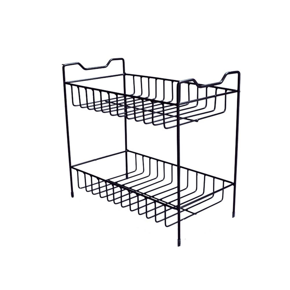 desktop-off-surface-shelves 2/3 Layers Shelf Kitchen Utensils Storage Iron Spice Rack Storage Stand Home Organizer Kitchen Shelf-Black HOB1759966 1 1