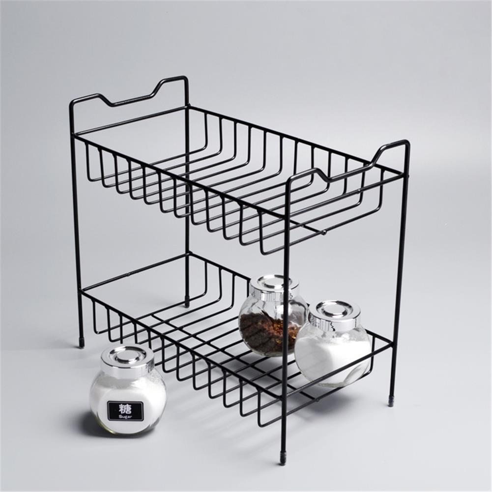 desktop-off-surface-shelves 2/3 Layers Shelf Kitchen Utensils Storage Iron Spice Rack Storage Stand Home Organizer Kitchen Shelf-Black HOB1759966 3 1