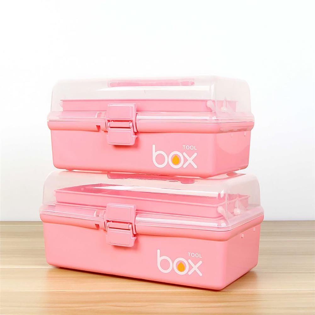 desktop-off-surface-shelves 3-Tier Medical Box Multifunction First Aid Kit Plastic Folding Medical Chest Organizer for Makeup Storage Box HOB1760052 2 1