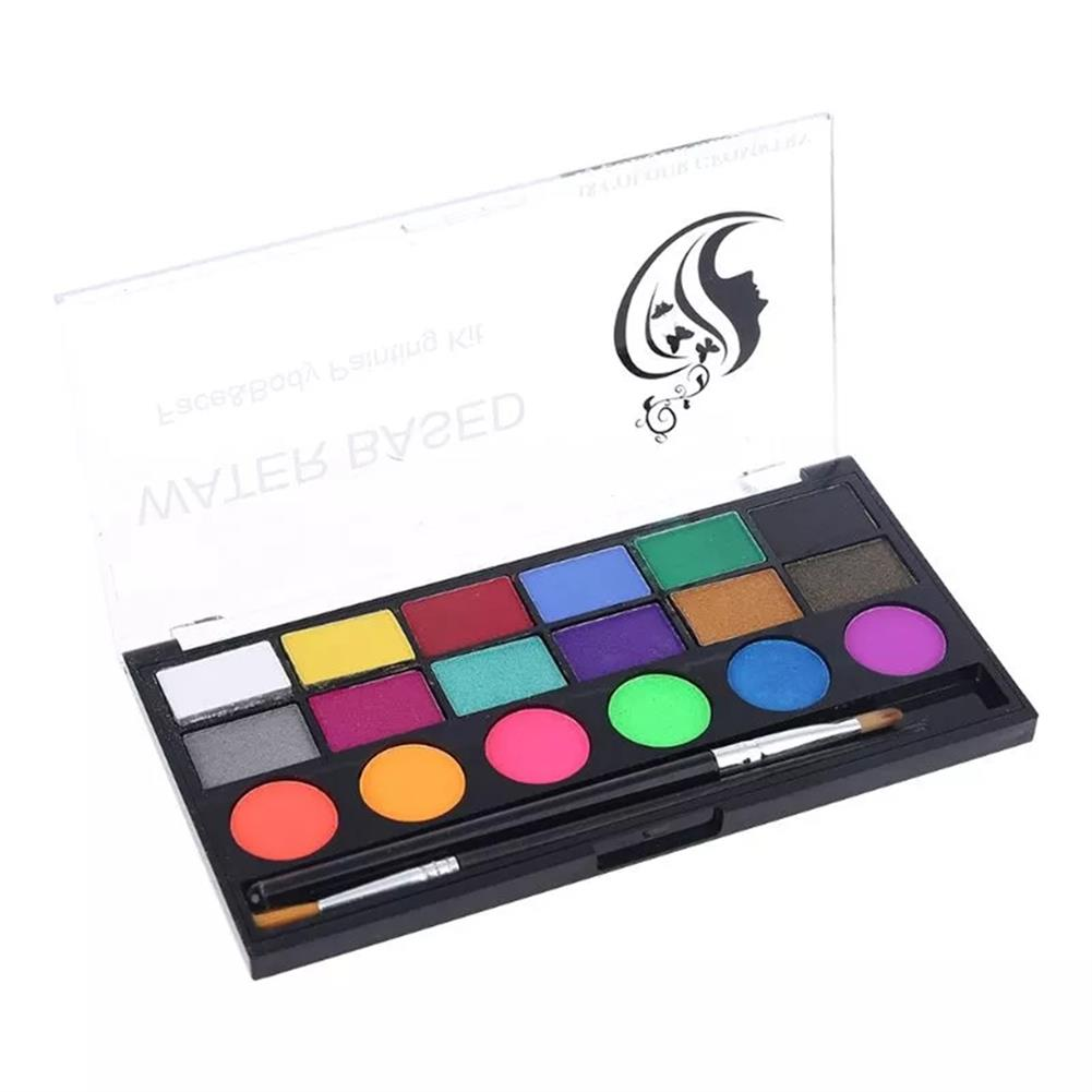 watercolor-paints 18 Colors Water Paint Christmas Halloween Party Face Painting Body Makeup Pigment Kit with Brush Painting Tool HOB1760544 1