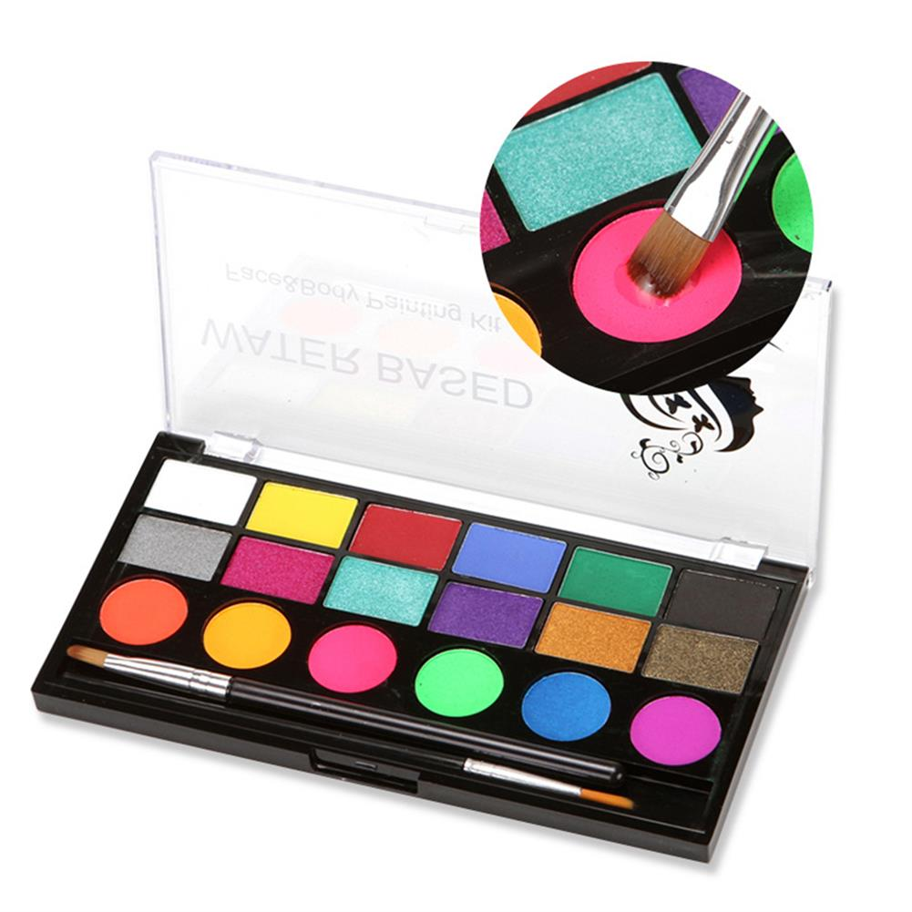 watercolor-paints 18 Colors Water Paint Christmas Halloween Party Face Painting Body Makeup Pigment Kit with Brush Painting Tool HOB1760544 1 1
