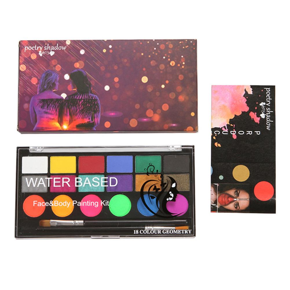watercolor-paints 18 Colors Water Paint Christmas Halloween Party Face Painting Body Makeup Pigment Kit with Brush Painting Tool HOB1760544 2 1