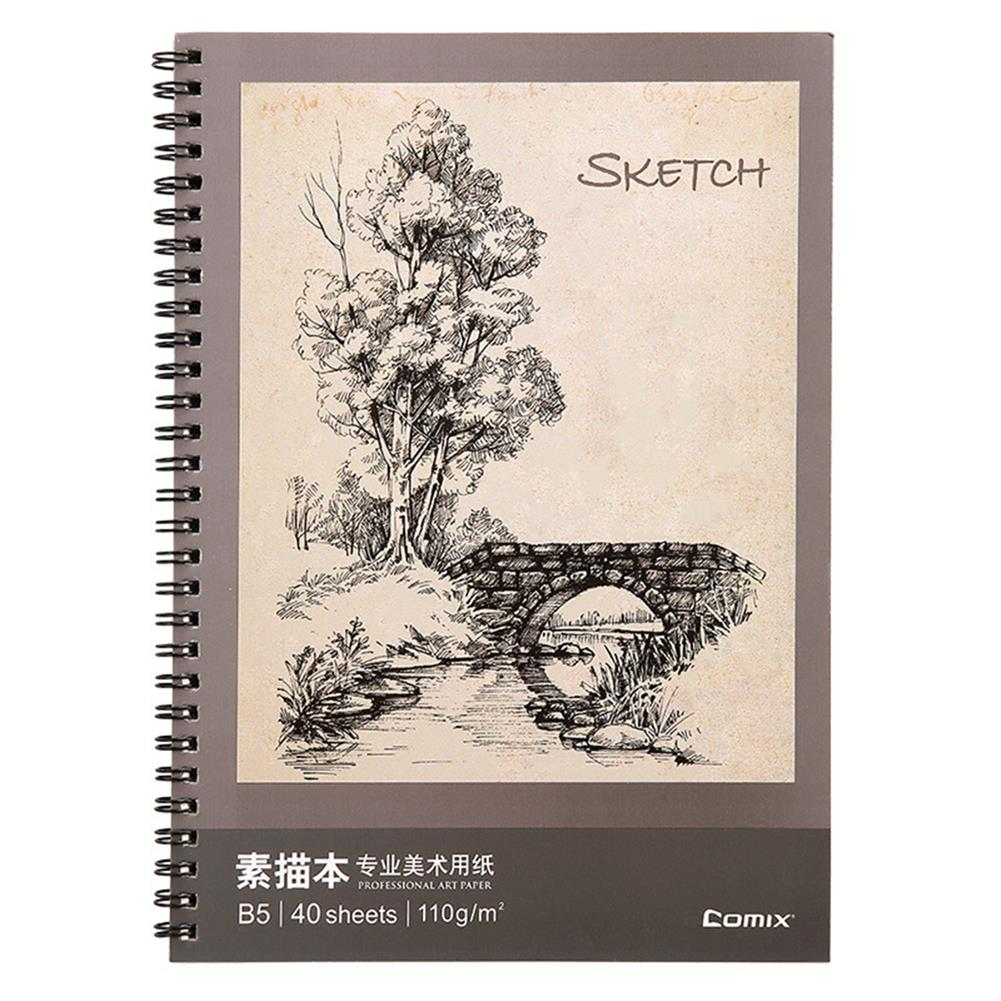 paper-notebooks B5 Sketchbook 40 Pages Double Coil Design Loose-leaf Graffiti Drawing Book Stationery Painting Art Supplies HOB1760662 1