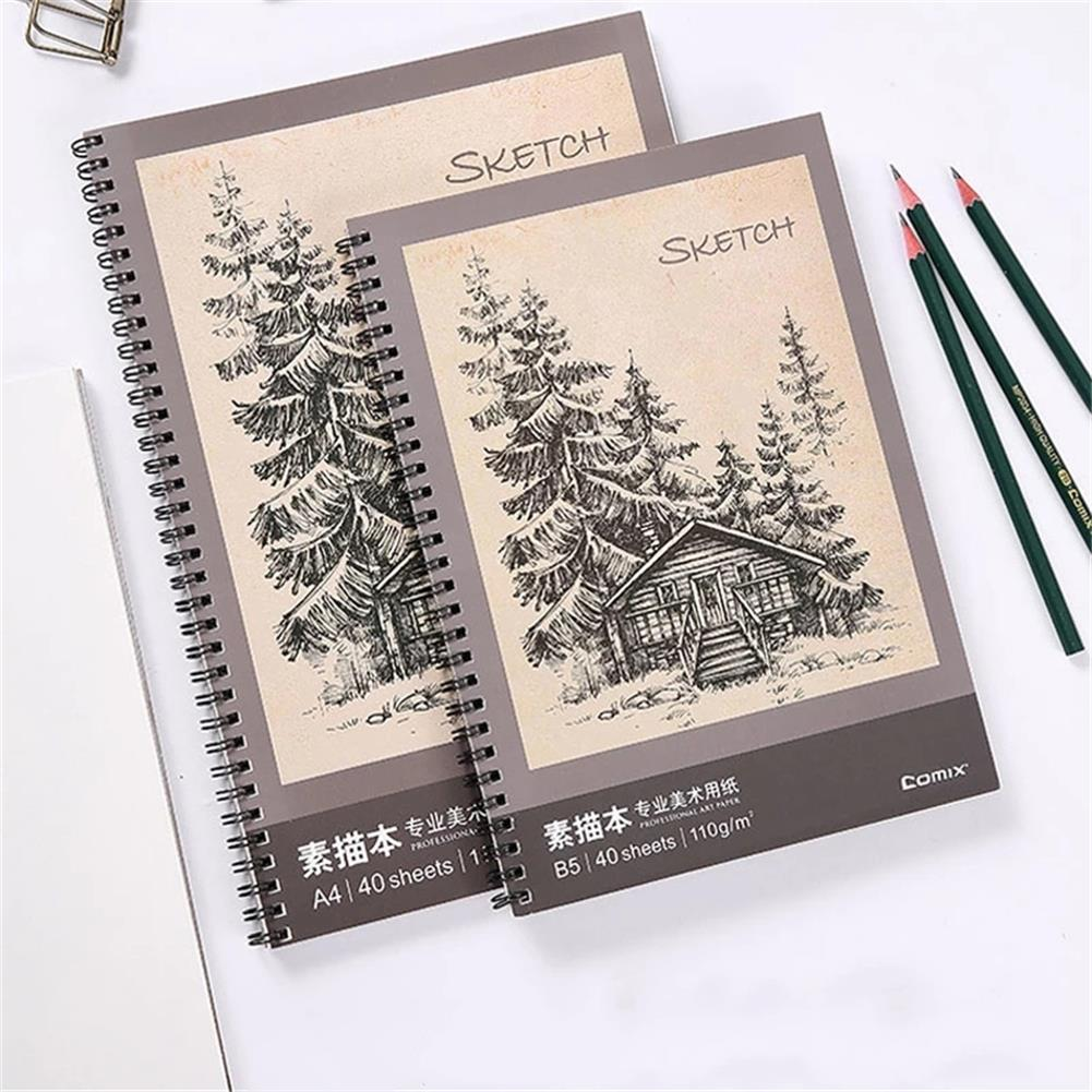 paper-notebooks B5 Sketchbook 40 Pages Double Coil Design Loose-leaf Graffiti Drawing Book Stationery Painting Art Supplies HOB1760662 1 1
