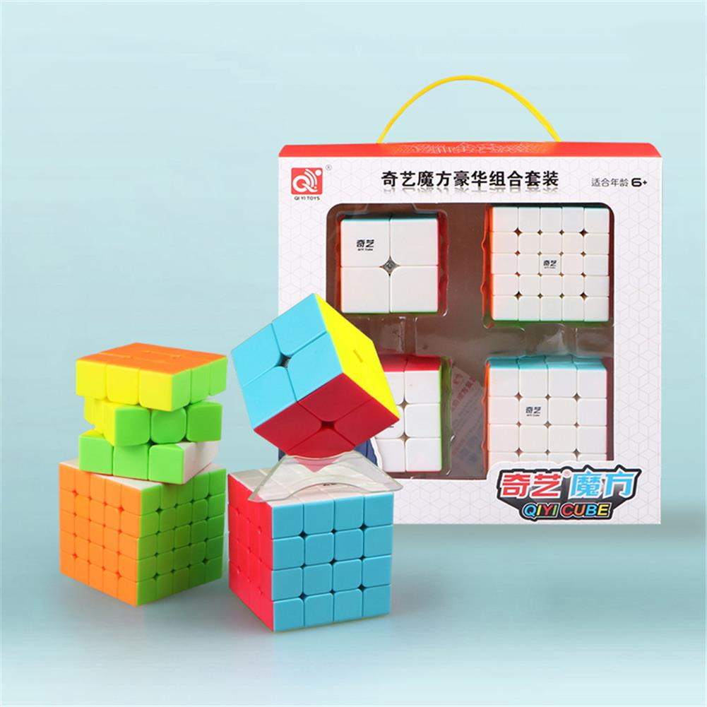 other-learning-office-supplies QiYi 4pcs Magic Cube Set 2x2 3x3x3 4x4x4 5x5x5 Speed Cube for Brain Training Children's Education Competition Toys HOB1760709 1