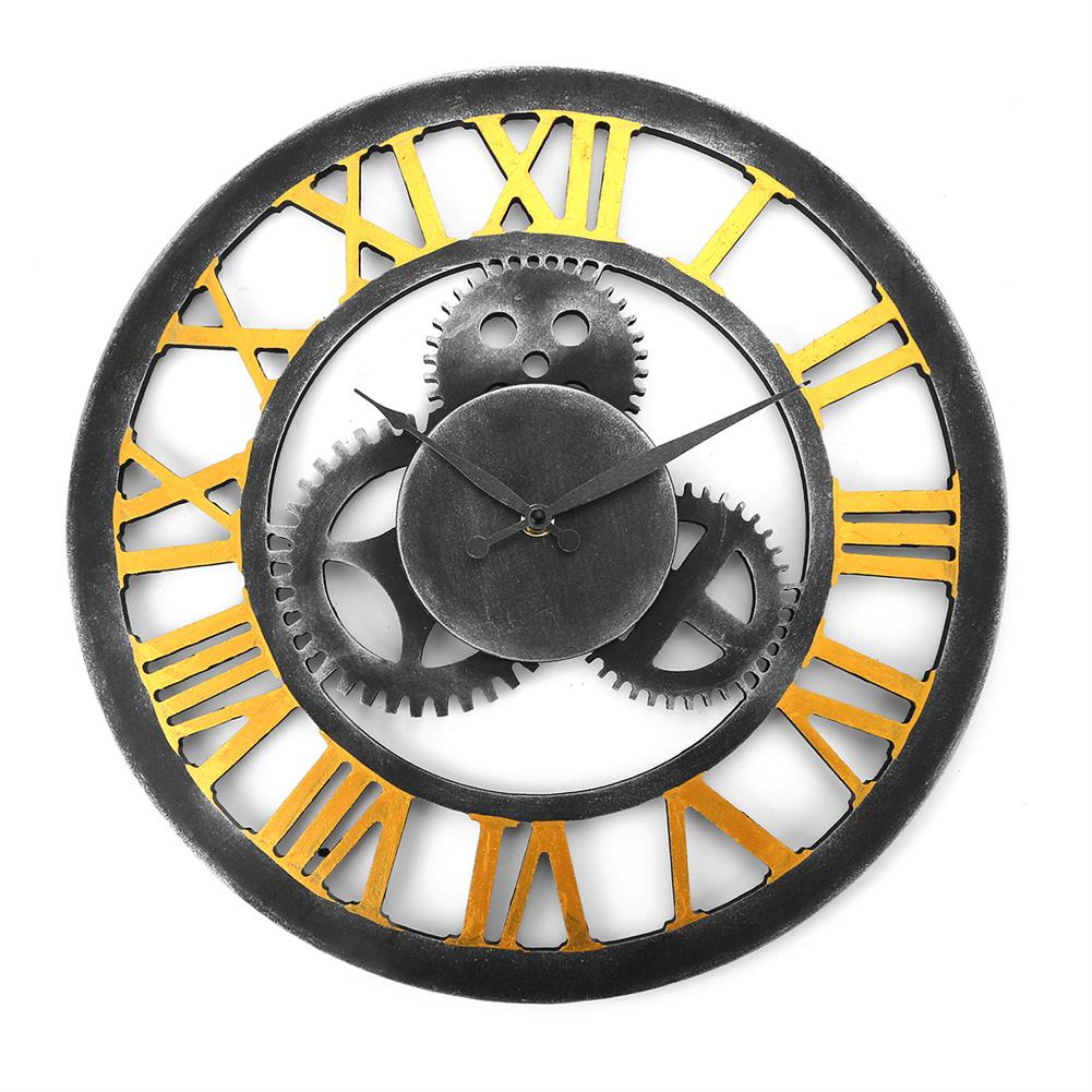other-learning-office-supplies 40*40cm Retro Gear Wooden Wall Clock Roman Numerals Old Nostalgic Restaurant Decoration Hanging Wall Clock Decoration HOB1761013 1
