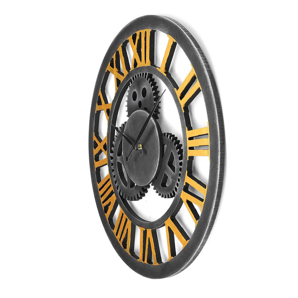other-learning-office-supplies 40*40cm Retro Gear Wooden Wall Clock Roman Numerals Old Nostalgic Restaurant Decoration Hanging Wall Clock Decoration HOB1761013 2 1