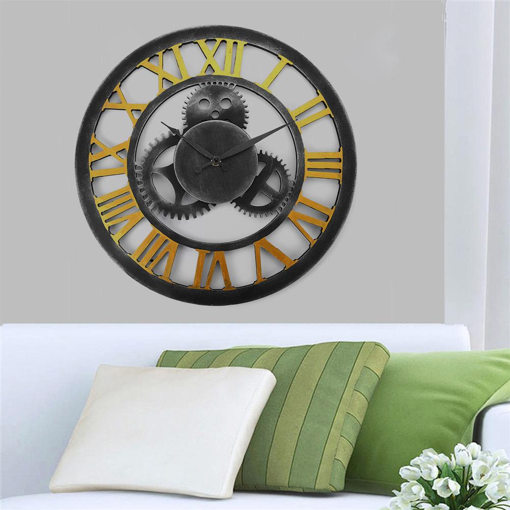 other-learning-office-supplies 40*40cm Retro Gear Wooden Wall Clock Roman Numerals Old Nostalgic Restaurant Decoration Hanging Wall Clock Decoration HOB1761013 3 1