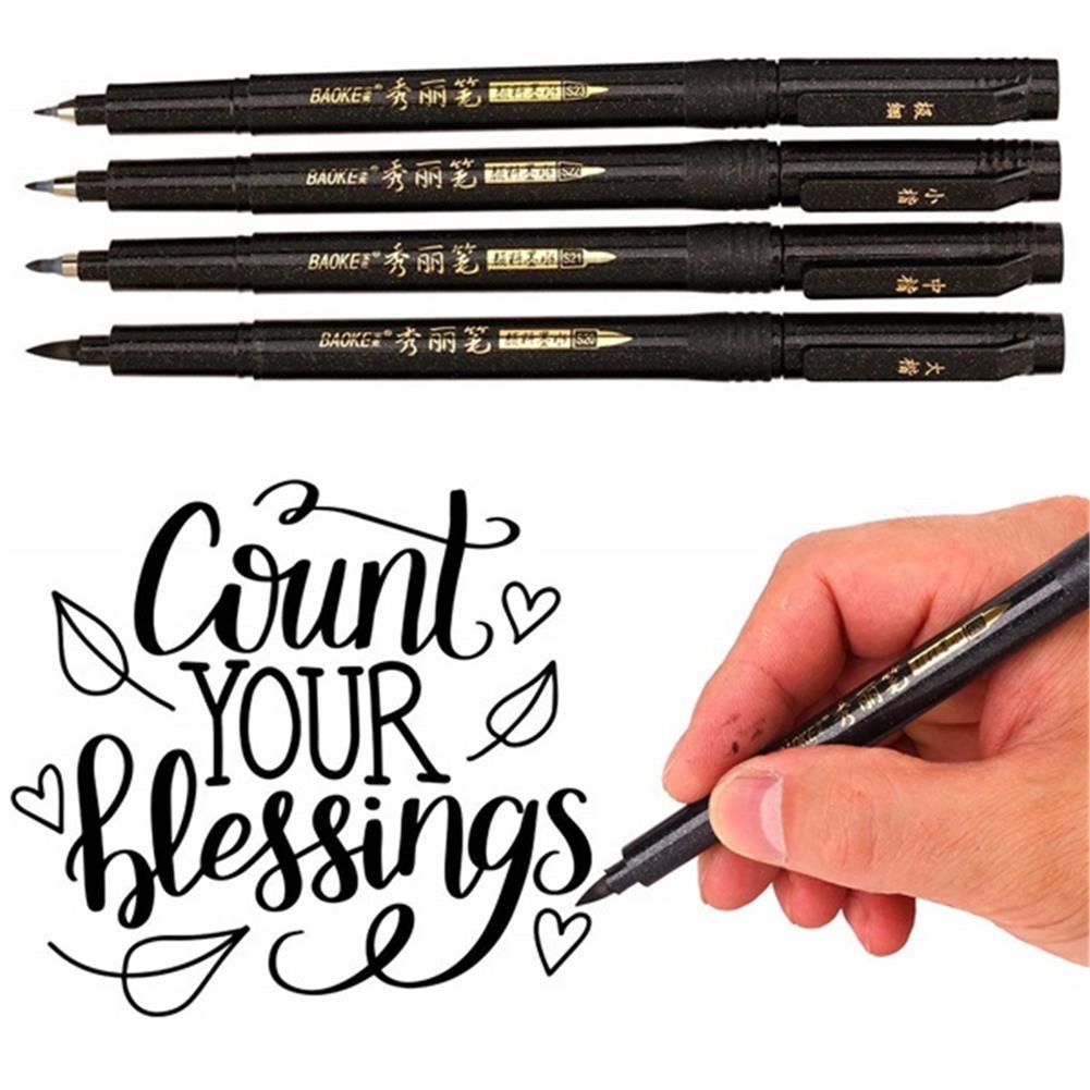 writing-brush Baoke 12pcs/box Calligraphy Pen Set Addable ink Flexible Refill Stationery Writing Drawing Signature Art office Supplies HOB1761820 1