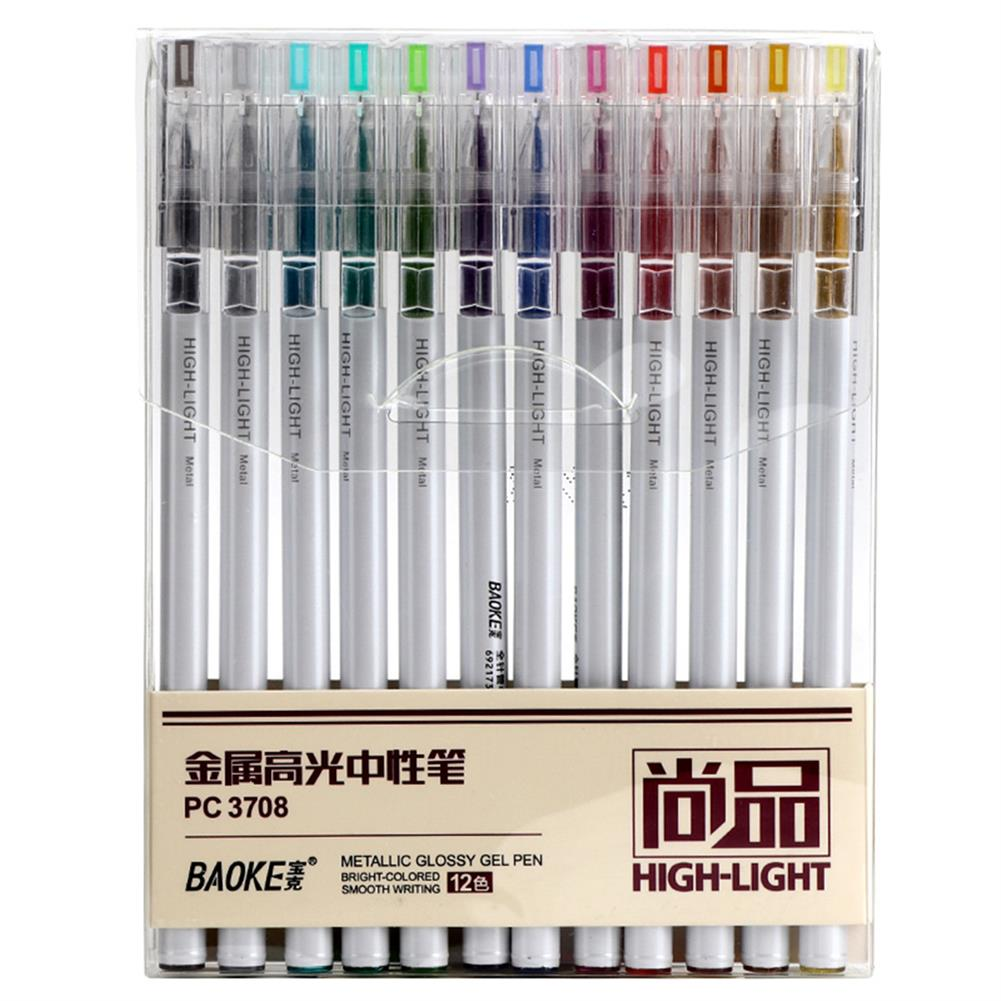 highlighter Baoke 12pcs 0.6mm Highlight Pen Set Multi-color ink Gel Pen for Kids Writing Art Manga Painting School Supplies HOB1761889 1 1