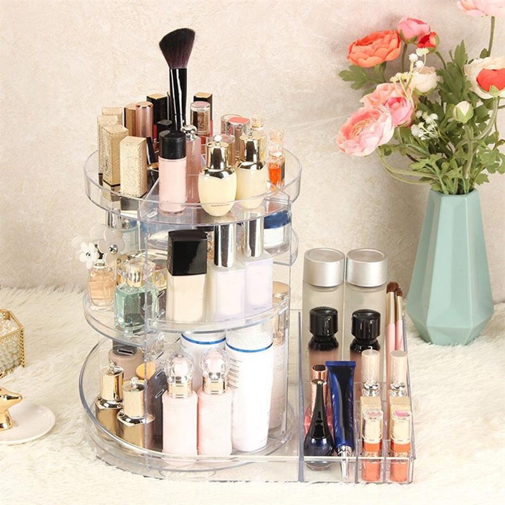 desktop-off-surface-shelves 360 Rotating Acrylic Makeup Organizer Storage Cosmetic Holder Stand Case Home Desktop Storage Rack Supplies HOB1762503 2 1