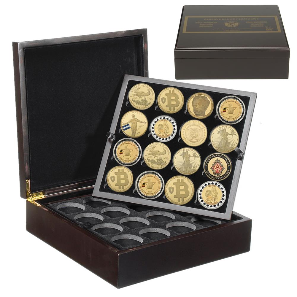 desktop-off-surface-shelves 4 Layers 64 Holes Coin Storage Stand Case Box Black Wooden Coin Collection Display Creative Anniversary Gifts HOB1763090 1