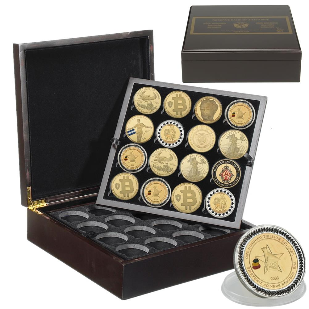 desktop-off-surface-shelves 4 Layers 64 Holes Coin Storage Stand Case Box Black Wooden Coin Collection Display Creative Anniversary Gifts HOB1763090 1 1