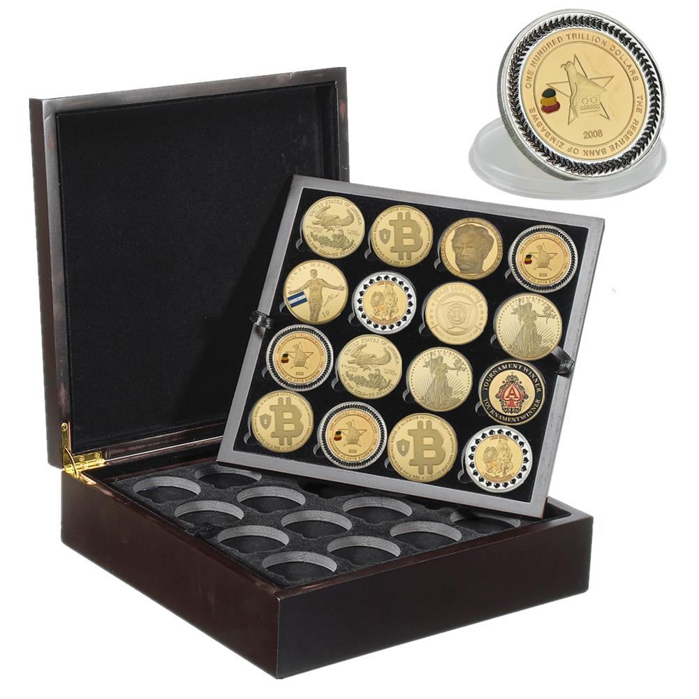 desktop-off-surface-shelves 4 Layers 64 Holes Coin Storage Stand Case Box Black Wooden Coin Collection Display Creative Anniversary Gifts HOB1763090 2 1