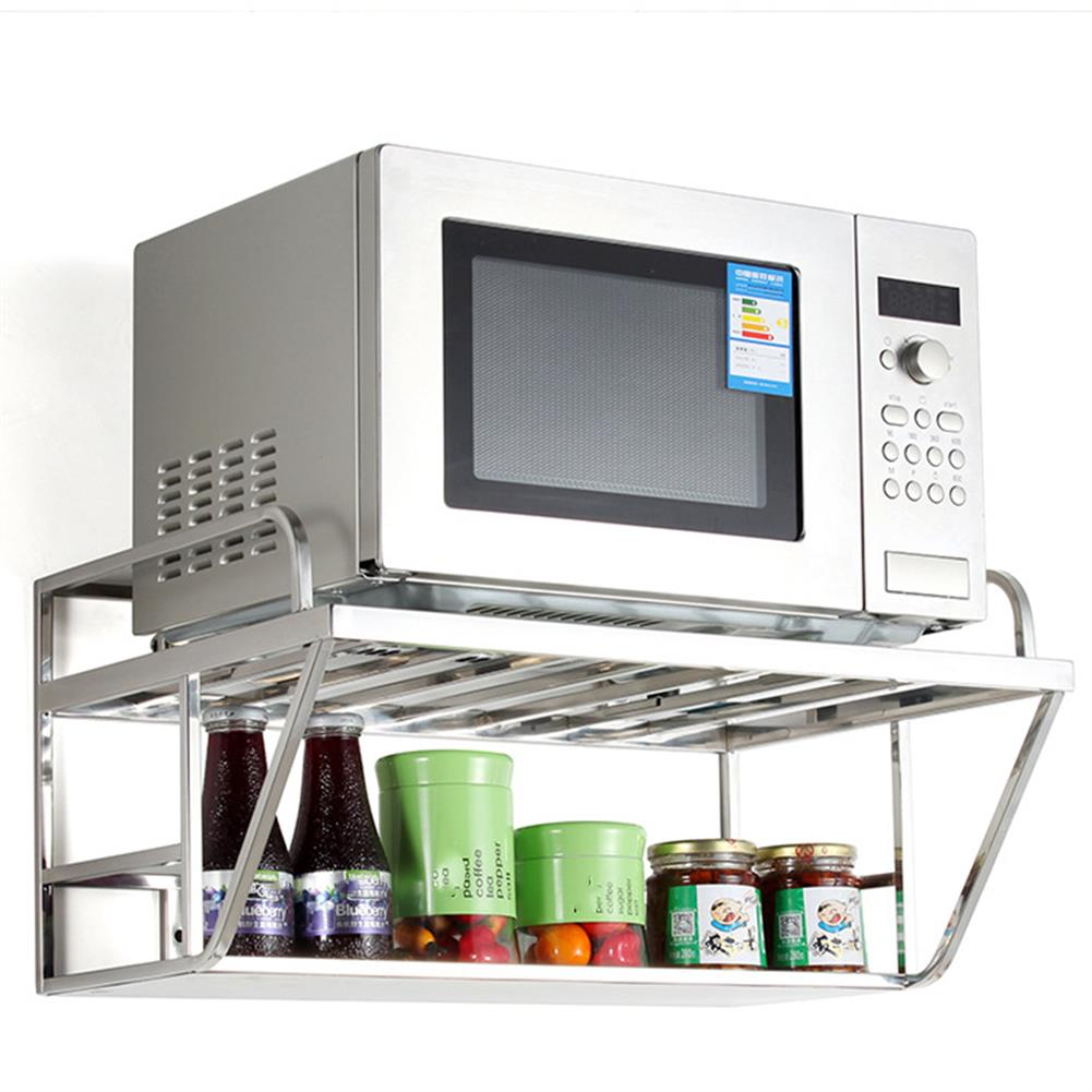 desktop-off-surface-shelves Double Layer Microwave Oven Stand Stainless Steel Storage Rack Shelf Hanging Space Saving Kitchen Bracket Home Supplies HOB1763142 3 1