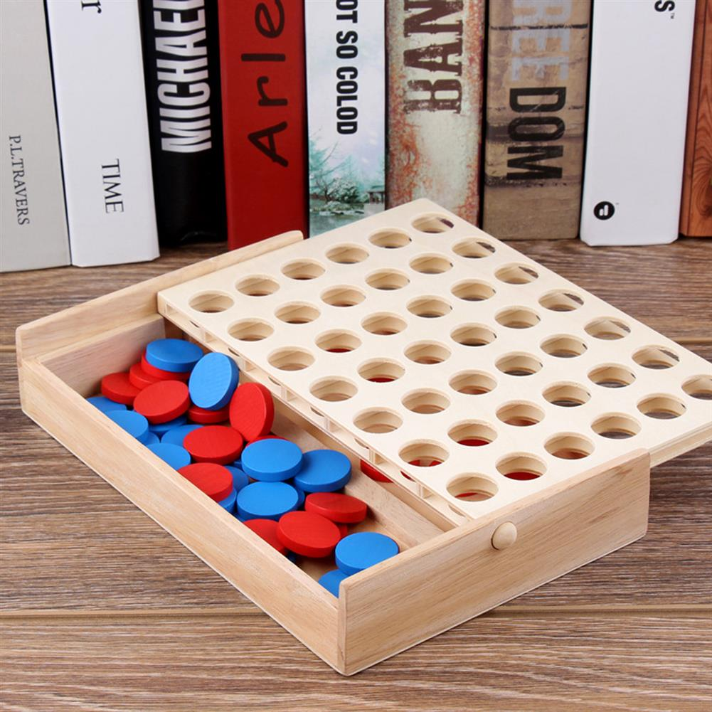 other-learning-office-supplies 4 in A Row Traditional Wooden Gameboard Education Board Game Classic 4 in a Line Connect Game for Home School HOB1763920 1 1