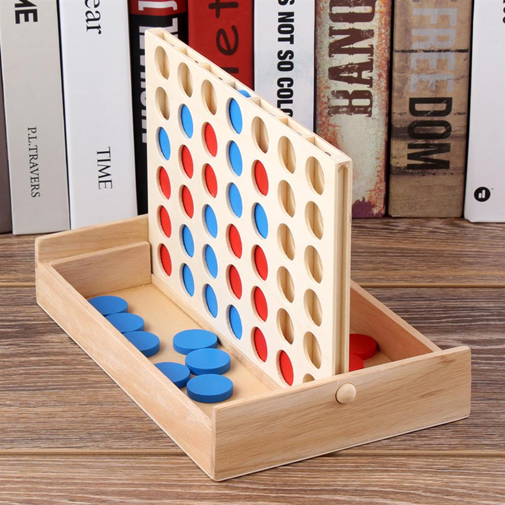 other-learning-office-supplies 4 in A Row Traditional Wooden Gameboard Education Board Game Classic 4 in a Line Connect Game for Home School HOB1763920 3 1