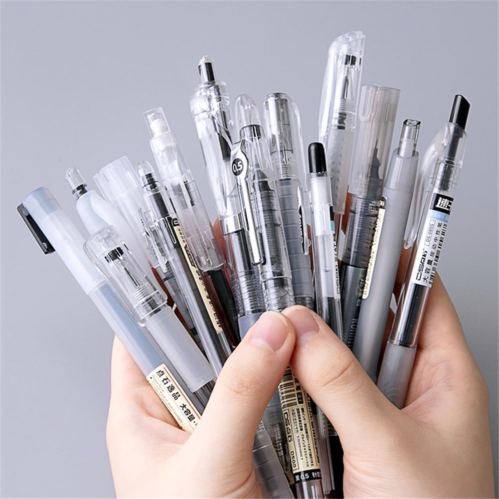 gel-pen Dianshi DS-904/914/924 Netural Pen 0.38/0.5mm Nib Transparent Design Black ink Gel Pen Writing Sketching Signing Pen for Students office HOB1764986 1 1