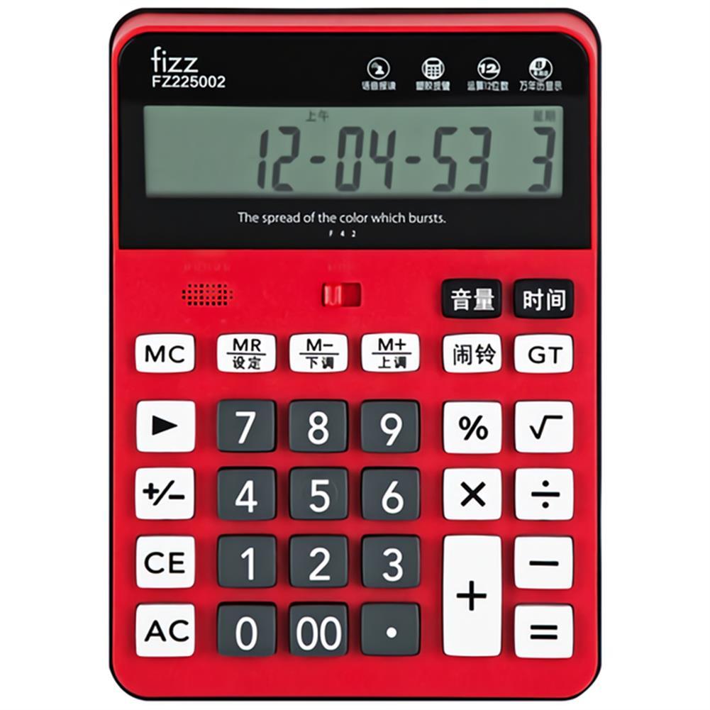 calculator Fizz FZ225002 12 Digital Voice Calculator LCD Battery-Mounted Large Screen Business office Exam Desktop Calculator HOB1765177 1