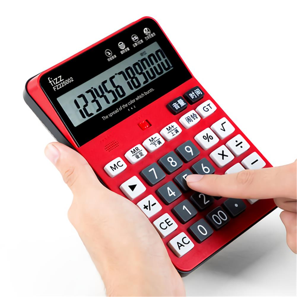 calculator Fizz FZ225002 12 Digital Voice Calculator LCD Battery-Mounted Large Screen Business office Exam Desktop Calculator HOB1765177 1 1