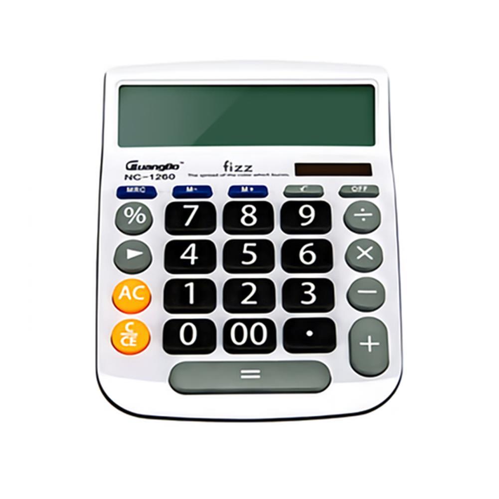 calculator Fizz FZ001260-W 12 Digit Calculator LED Dual Power Supply Large Screen Desktop Calculator for Business office Finance HOB1765239 1
