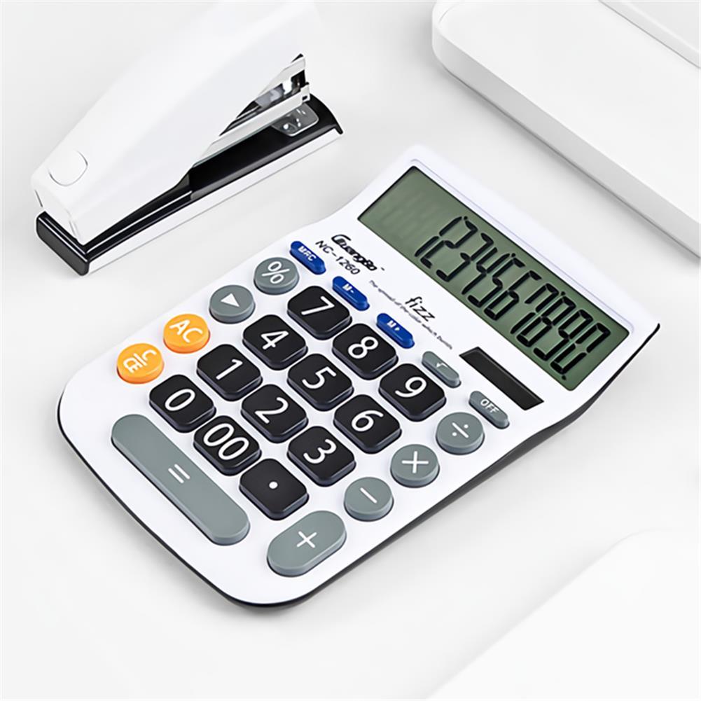 calculator Fizz FZ001260-W 12 Digit Calculator LED Dual Power Supply Large Screen Desktop Calculator for Business office Finance HOB1765239 1 1