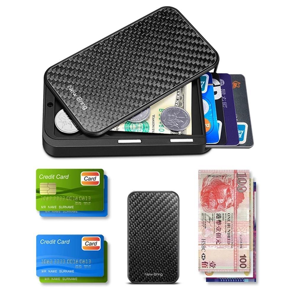 business-card-book NewBring Card Holder Metal Ultrathin Wooden RFID Blocking Card Holder Wallets Business ID Card Box Creative Gifts HOB1765909 1