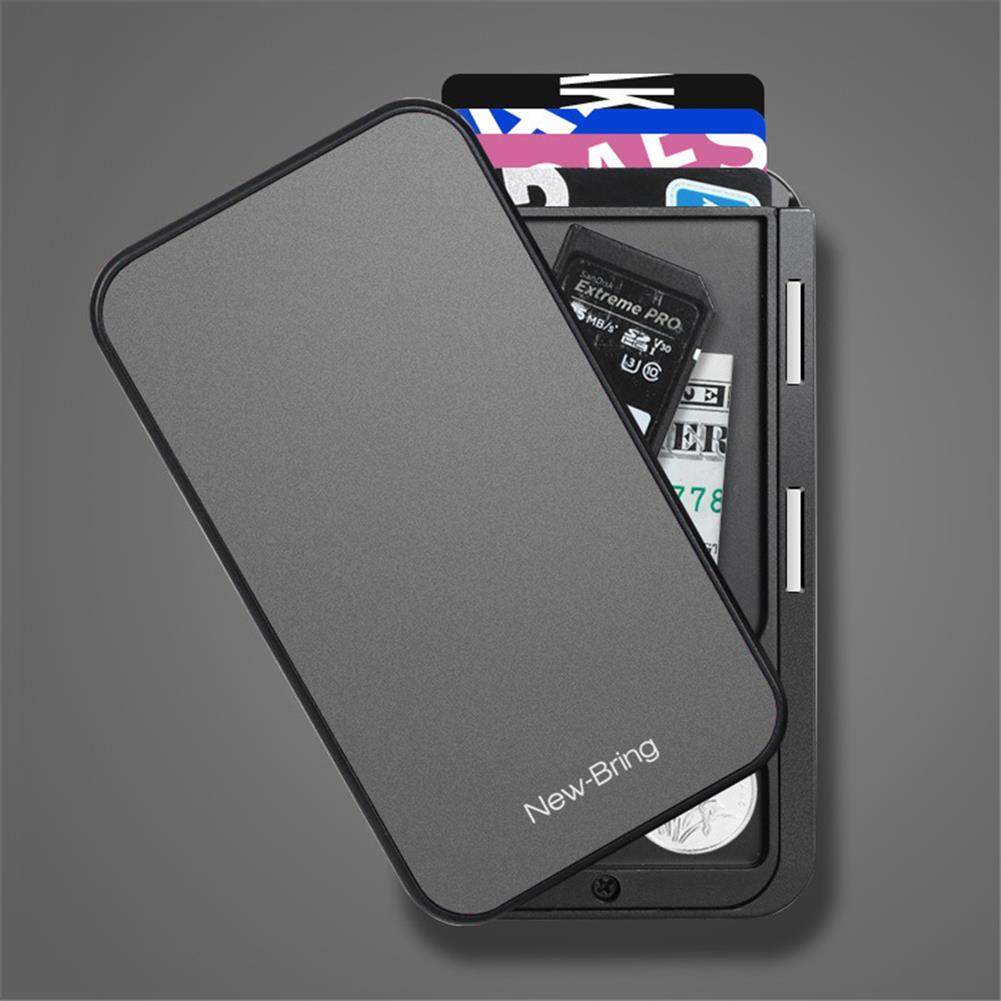 business-card-book NewBring Card Holder Metal Ultrathin Wooden RFID Blocking Card Holder Wallets Business ID Card Box Creative Gifts HOB1765909 1 1