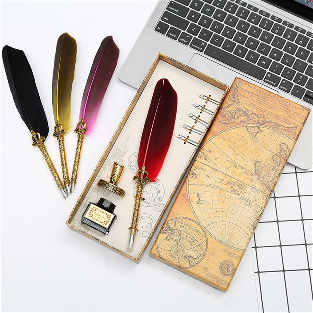 pen Retro Feather Dip Pen Set with 3 Nib Quill Stainless Steel Calligraphy Fountain Pen Business Gift Box office Supplies HOB1766318 1
