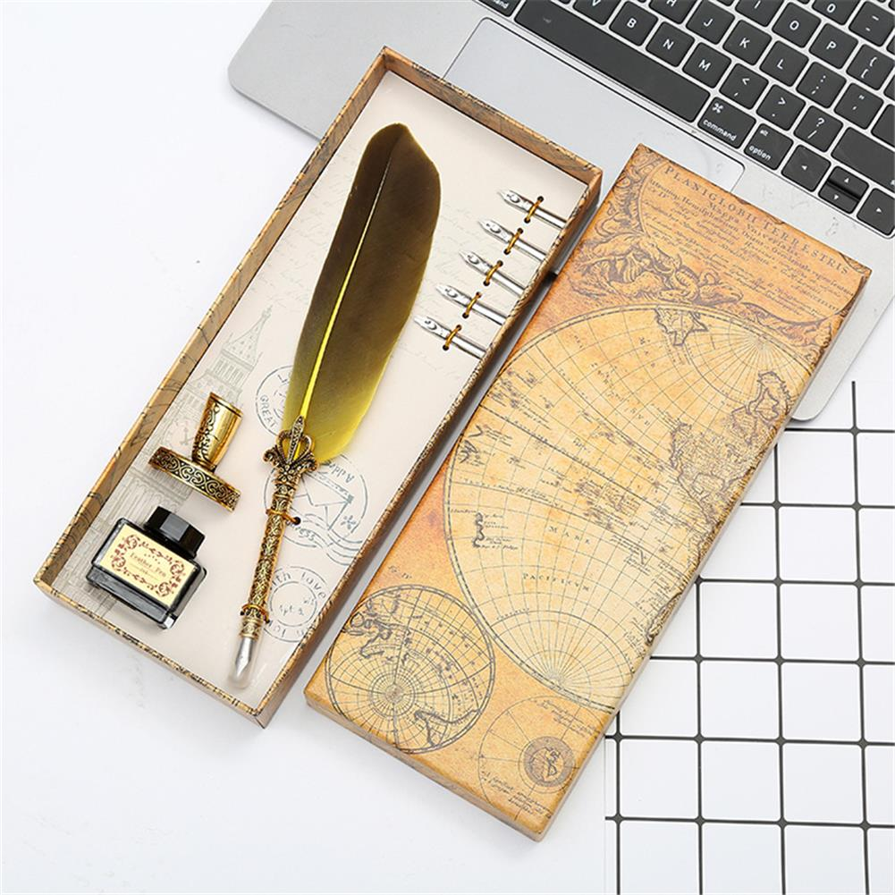 pen Retro Feather Dip Pen Set with 3 Nib Quill Stainless Steel Calligraphy Fountain Pen Business Gift Box office Supplies HOB1766318 1 1