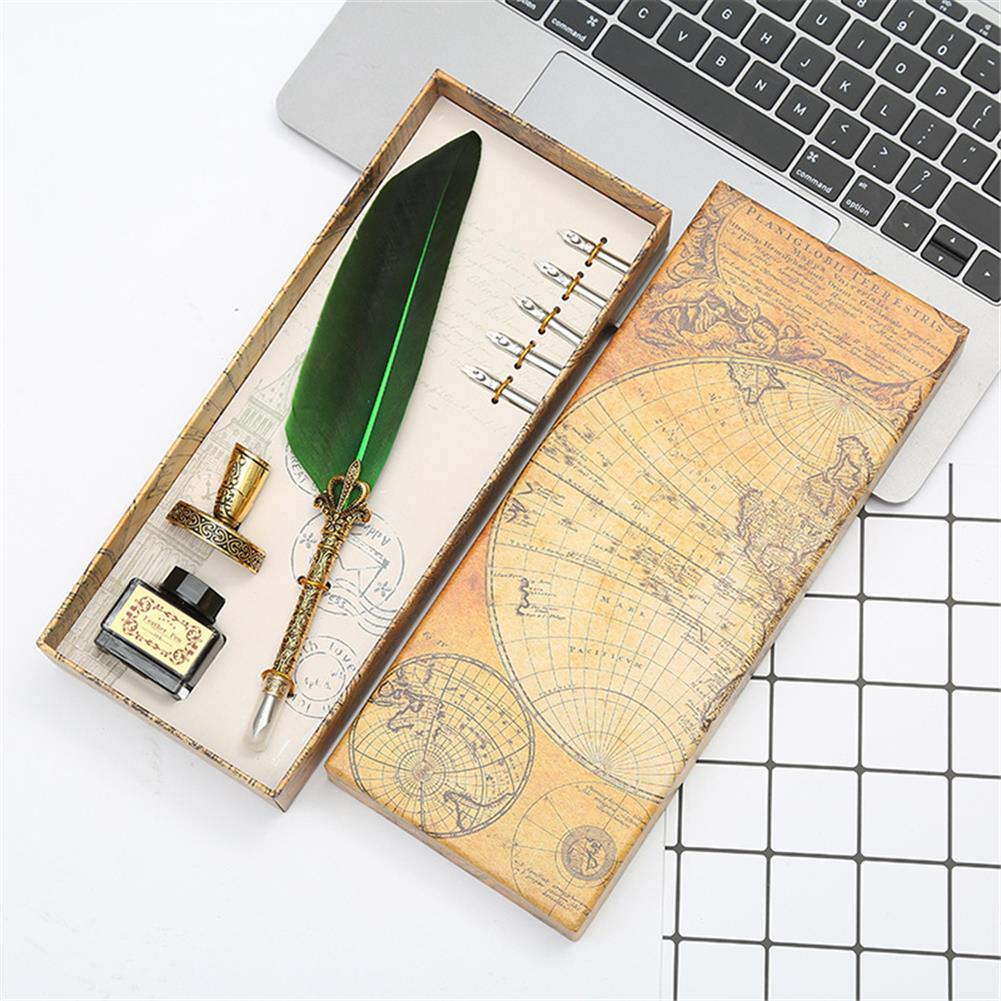 pen Retro Feather Dip Pen Set with 3 Nib Quill Stainless Steel Calligraphy Fountain Pen Business Gift Box office Supplies HOB1766318 2 1
