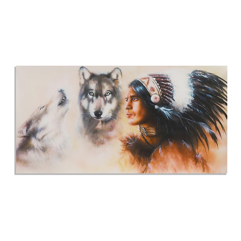 art-kit 1 Piece Canvas Print Painting indian Man Wolf Wall Decorative Art Picture Frameless Wall Hanging Home office Decoration HOB1766347 1