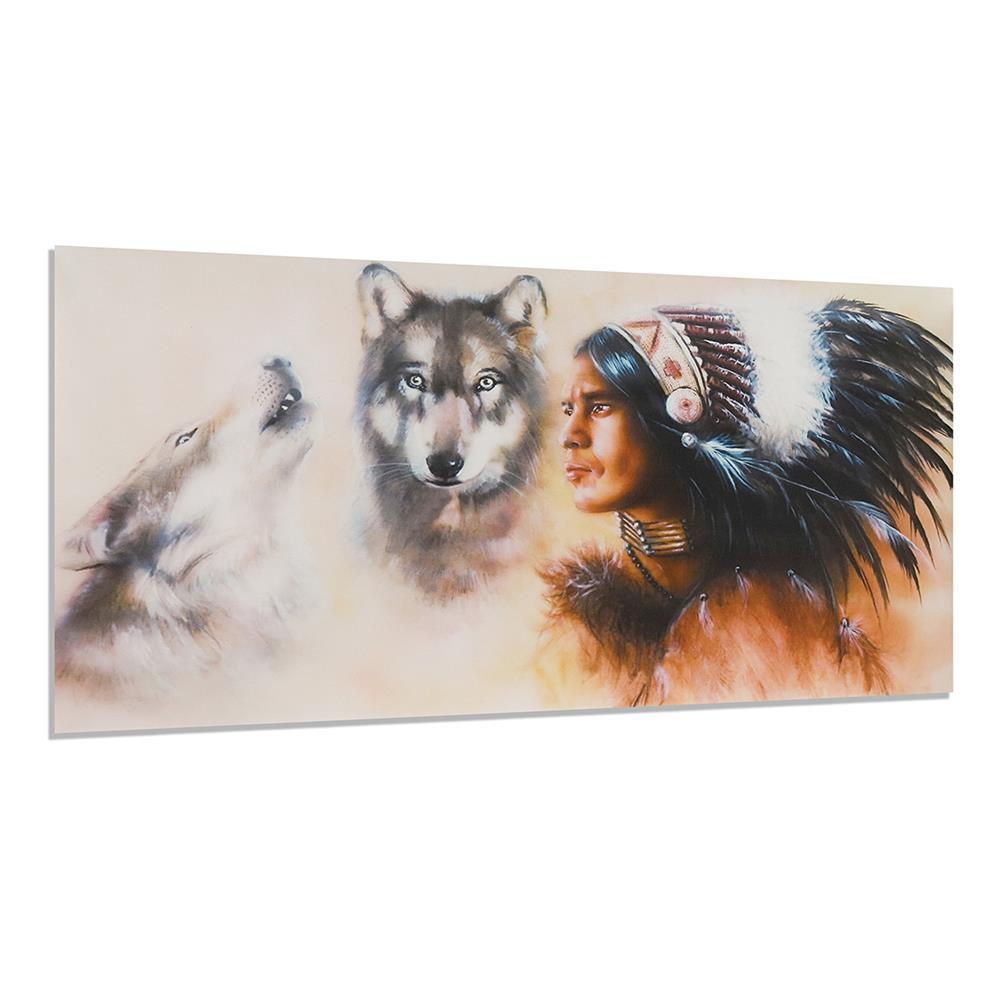 art-kit 1 Piece Canvas Print Painting indian Man Wolf Wall Decorative Art Picture Frameless Wall Hanging Home office Decoration HOB1766347 1 1