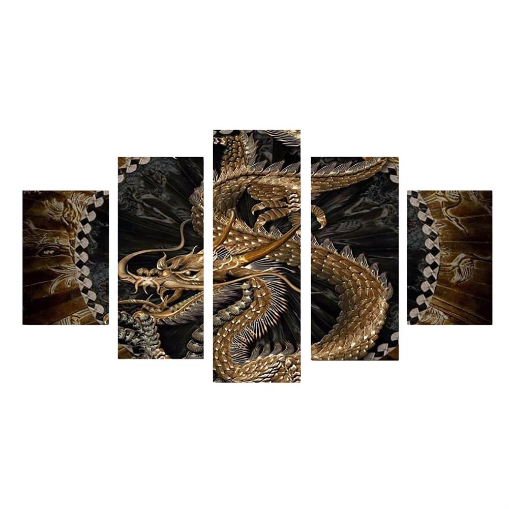 art-kit 5Pcs Canvas Print Paintings Dragon Pattern Wall Decorative Art Pictures Frameless Wall Hanging Home office Decoration HOB1766355 1