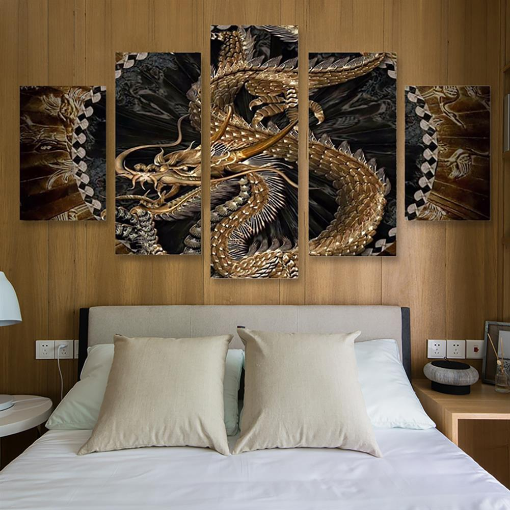 art-kit 5Pcs Canvas Print Paintings Dragon Pattern Wall Decorative Art Pictures Frameless Wall Hanging Home office Decoration HOB1766355 2 1