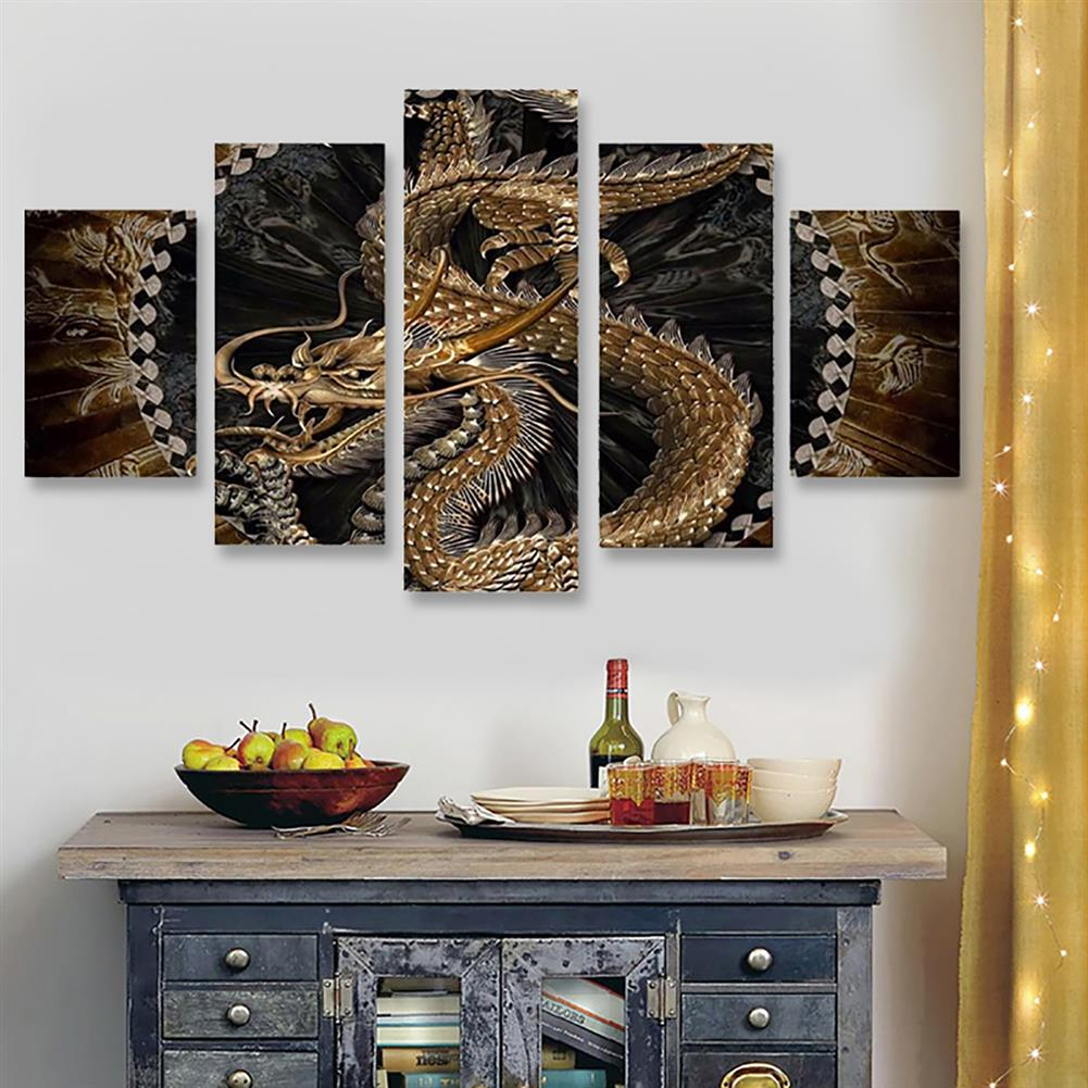 art-kit 5Pcs Canvas Print Paintings Dragon Pattern Wall Decorative Art Pictures Frameless Wall Hanging Home office Decoration HOB1766355 3 1