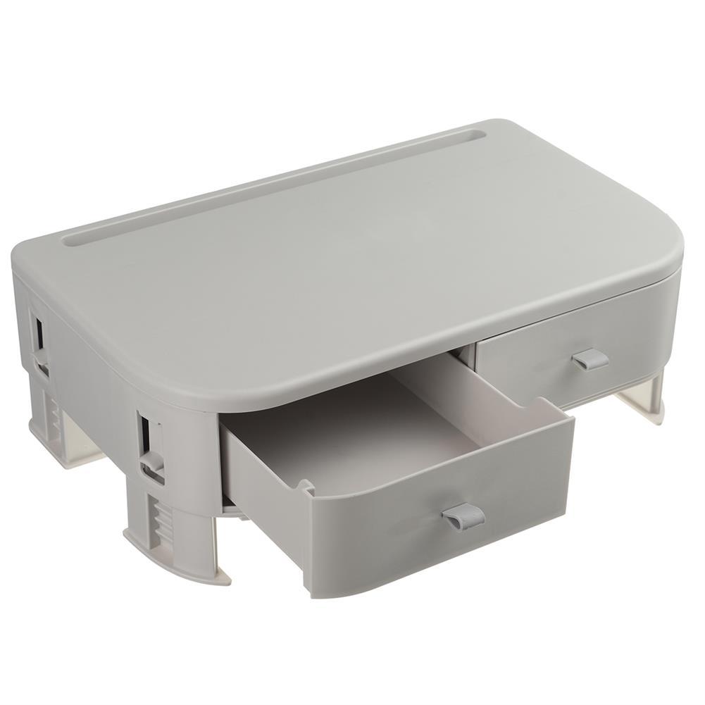 desktop-off-surface-shelves Computer Monitor Riser Height Adjustable Desktop LED LCD Monitor Support Stand Holder with 2 Storage Drawers & Tablet Slot HOB1767421 1
