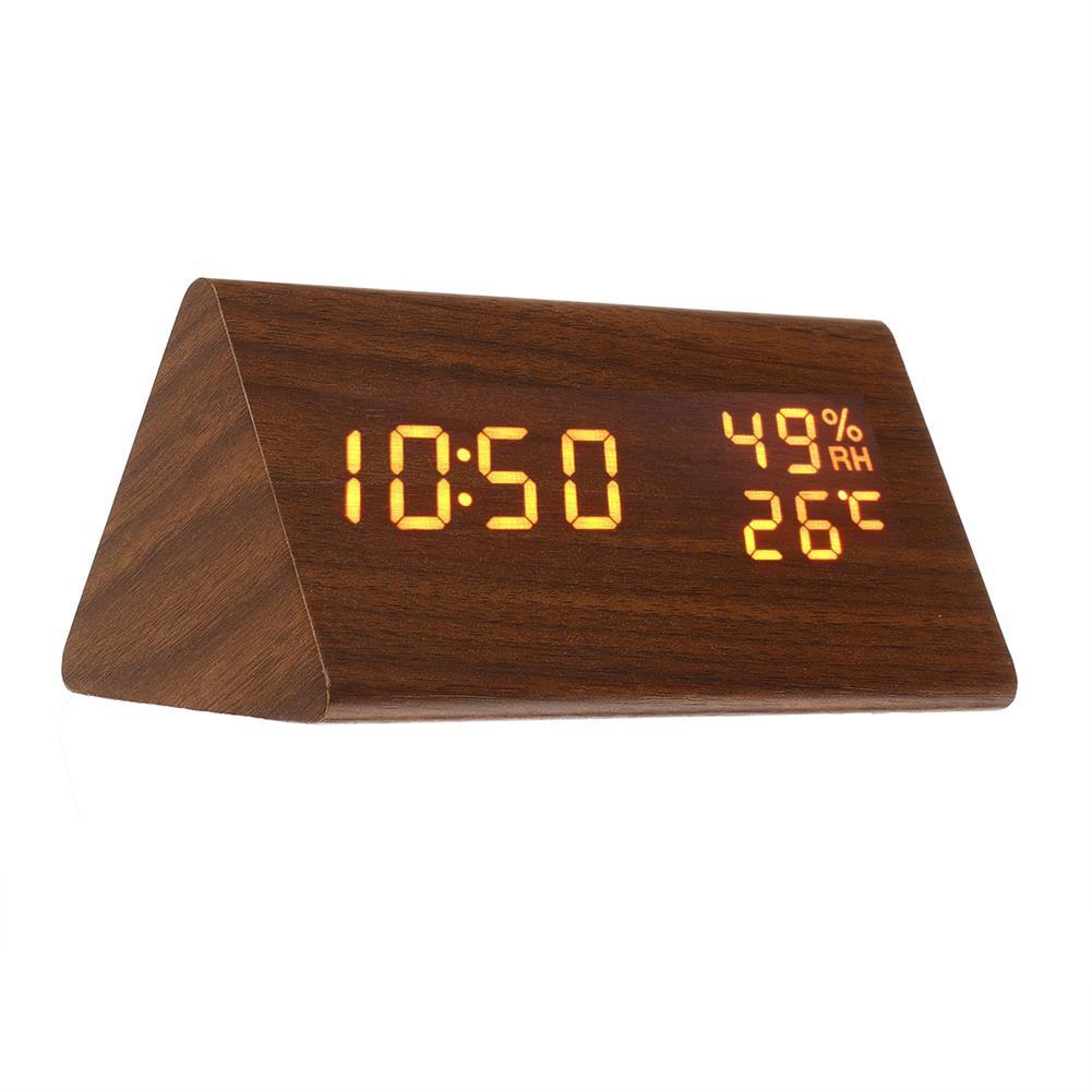 desktop-off-surface-shelves Triangle Electronic Alarm Clock Desktop Digital Wooden LED Time Display Clock for Bedroom Business office Time Manage HOB1767564 1 1