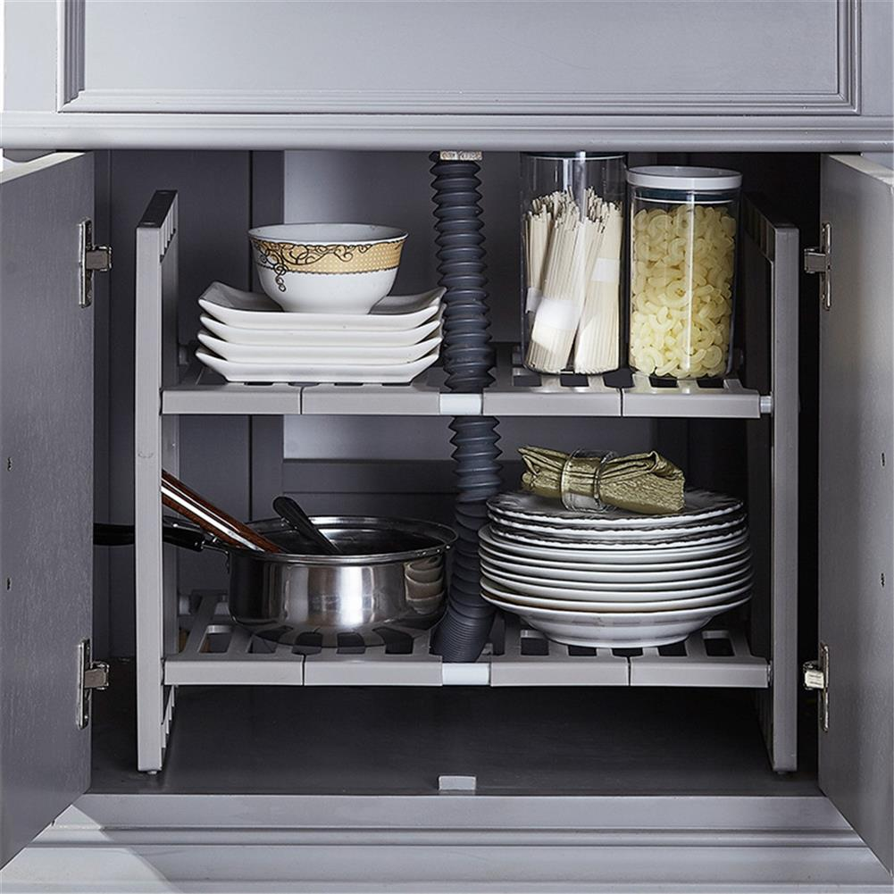 desktop-off-surface-shelves Double Layer Scalable Storage Rack Kitchen Multifunction Sundries Storage Shelf Suitable for Storing Laundry Supplies HOB1767815 2 1