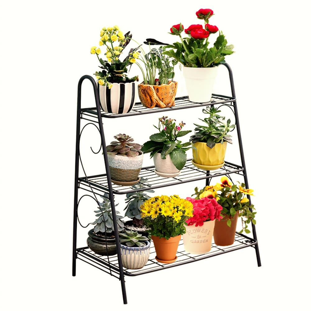 book-stands 3 Layers Flower Rack Plant Display Stand Floor Shelf Shoe Rack indoor Iron Storage Shelf for Living Room Home office HOB1770077 1