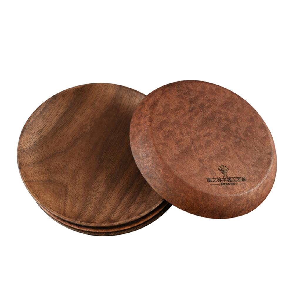 other-learning-office-supplies Japanese Style Wooden Plate Solid Black Walnut Wood 15/20/23/26cm Plate Food Fruit Dish Plate for Home Decoration HOB1770649 1 1