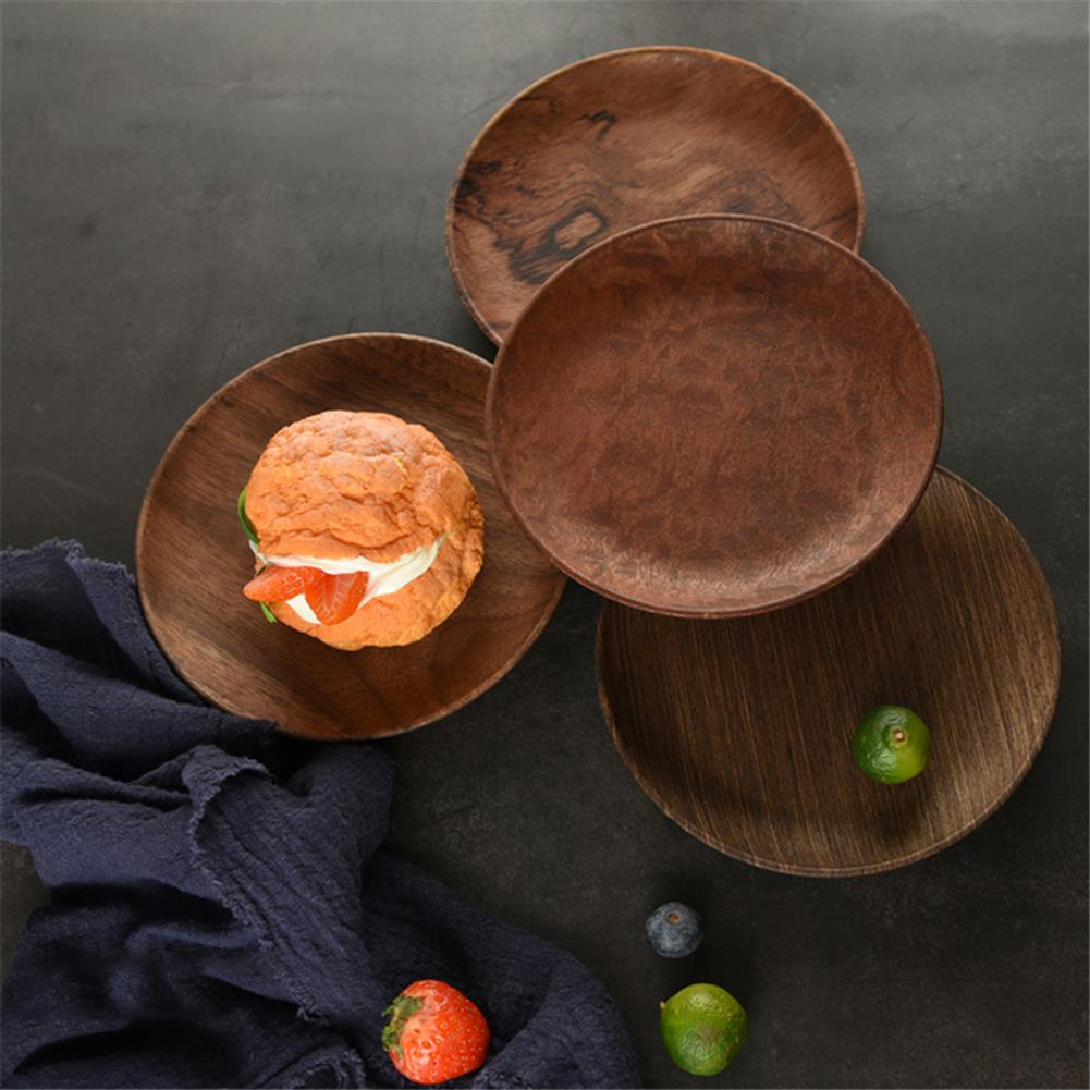 other-learning-office-supplies Japanese Style Wooden Plate Solid Black Walnut Wood 15/20/23/26cm Plate Food Fruit Dish Plate for Home Decoration HOB1770649 3 1