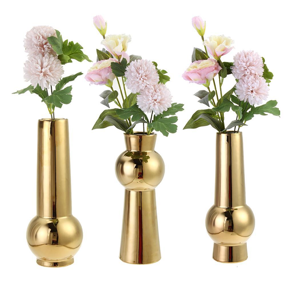 desktop-off-surface-shelves Golden Ceramic Vase Living Room Planting Crafts Flower Arrangement Container Home office Desk Decoration Ornaments HOB1770828 1